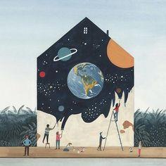 Art , Street Art , Esprit des rues , Miren Asiain Lora Landscaping With Rocks Will Spotlight Your Ya Art Inspo, Kunst Inspo, Inspiration Art, Art And Illustration, Illustrations Posters, Murals Street Art, Street Wall Art, Graffiti Wall Art, Mural Painting