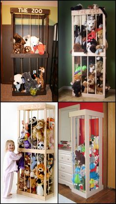 If you're a parent, you'll know how stuffed toys seem to both miraculously multiply and migrate to every corner of the house. In most houses, floor space is at a premium. This storage system will allow stuffed toys to be kept vertically and it's a great Organizing Stuffed Animals, Stuffed Animal Storage, Diy Stuffed Animals, Stuffed Toys, Stuffed Animal Zoo, Kid Toy Storage, Storage Hacks, Bedroom Storage Solutions, Toy Storage Solutions