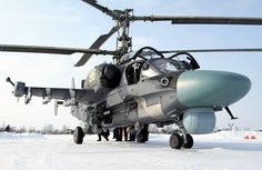 "The multi-role all-weather combat Ka-52 ""Alligator"" (Hokum-B) helicopter is a twin-seat derivative of the attack Ka-50"