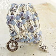 Beaded Memory Wire spiral Wrap Bracelet - WONDERLAND - Chunky Pearls and sparkly crystals silver tone