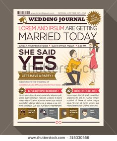 Cartoon Newspaper Journal Wedding Invitation Vector Design Template with illustration of a man making propose with wedding ring