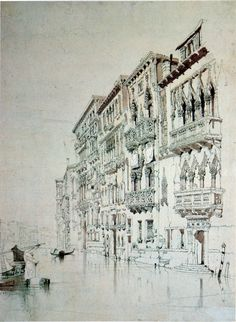 Palazzo-Contadini-Fasan on the Grand Canal, by John Ruskin, 1841 John Everett Millais, Art Et Architecture, Beautiful Architecture, Inspiration Artistique, John Ruskin, Landscape Drawings, 6 Photos, Sketchbook Inspiration, You Draw