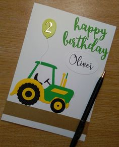 Personalised Child Birthday 2 Years Old 2nd Farmer Tractor Card For Boy Or