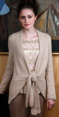 Free knitting pattern for Kamille Cardigan wrap cardigan sweater that ties in front. Pockets and matching cuffs