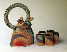 Items similar to Hand-built Stoneware Tea Set with Five Cups on Etsy