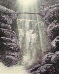 Cross, Spray Paint Art, Landscape, Waterfall, Cross, Christian Art, Purple, Original by artisticaspirations on Etsy https://www.etsy.com/listing/476400296/cross-spray-paint-art-landscape