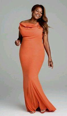 Love this orange maxi on Queen Latifah!