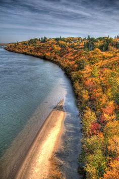 """Fall colours along the beautiful riverbank and those surprise """"beaches"""" that appear on occasion."""