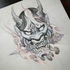 japanese tattoos for strength Oni Tattoo, Hanya Tattoo, Samurai Maske Tattoo, Hannya Maske Tattoo, Japanese Demon Tattoo, Japanese Dragon Tattoos, Japan Tattoo Design, Japanese Tattoo Designs, Tattoo Drawings