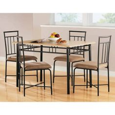 Shop a great selection of Mainstays 5 Piece Wood Metal Dining Set, Natural. Find new offer and Similar products for Mainstays 5 Piece Wood Metal Dining Set, Natural. Dining Room Sets, Dining Furniture Sets, 5 Piece Dining Set, Kitchen Furniture, Modern Furniture, Metal Furniture, Kitchen Wood, Round Kitchen, Garden Furniture