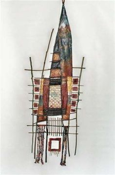 "Adirondack Weaver  Free To Fly 20"" x 48"" Weaving / Stick Sculpture Sticks, paper, beads, wire mesh, yarn, paint, pastels"
