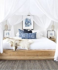Beach Coastal Style Bedroom // dreamy canopy bed // blue and white bedroom Dream Bedroom, Home Bedroom, Bedroom Decor, Bedroom Ideas, Bedroom Designs, Modern Bedroom, Bedroom Furniture, Bedroom Colors, Bedroom Inspiration
