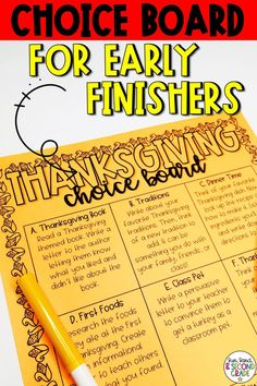 Thanksgiving Choice Board - Morning Work or Early Finisher Activities Thanksgiving Classroom Activities, Thanksgiving Books, Enrichment Activities, 2nd Grade Ela, 3rd Grade Classroom, Classroom Ideas, Classroom Resources, Second Grade, Early Finishers Activities