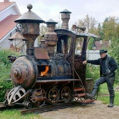 Steampunk train barbeque grill