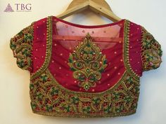 15 Latest Heavy Designer Saree Blouse Designs Heavy designer blouses are appropriate when you are going for a party, wedding or major function. This heavy designer blouses can be paired with sarees or lehengas. Here in this post, we are talkin… Netted Blouse Designs, Cutwork Blouse Designs, Wedding Saree Blouse Designs, Fancy Blouse Designs, Blouse Neck Designs, Blouse Patterns, South Indian Blouse Designs, Saris, Henna Designs