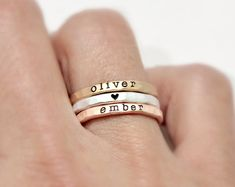 skinny stacking rings personalized rings heart rings kids names skinny rings sterling silver yellow gold filled rose gold filled mothers day gift Vintage Engagement Rings, Vintage Rings, Diamond Engagement Rings, Vintage Silver, Antique Silver, Diamond Wedding Bands, Diamond Rings, Wedding Rings, Diamond Heart