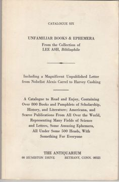 A vintage Catalog of Unfamiliar Books & Ephemera From the Collection of Lee Ash . A great vintage reference, interesting read from biblioboy.com
