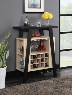 Newport Bar Console - Convenience Concepts Newport Bar Console by Convenience Concepts is the perfect is the perfect entertaining piece for any home. Featuring storage for up to 15 wine bottles and 4 Hanging stemware racks, you'll have p Small Bars For Home, Mini Bar At Home, Bar Console, Home Bar Cabinet, Home Bar Decor, Mini Bars, Newport Bar, Home Office Design, House Design