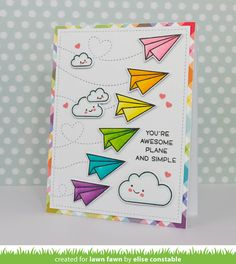 the Lawn Fawn blog: Lawn Fawn Intro: Plane and Simple & Stitched Trails Card by Elise Constable