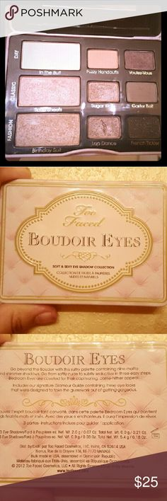 Too Faced Boudoir Eyes palette It has 3 different looks and 6 colors that can be used interchangeably. I swatched the colors on my arm. The color Lap Dance has a scratch in it but aside from that it is in good condition. I don't use it anymore now that I have a Lorac palette. EUC. Firm on price. No trades or offers, please. Too Faced Makeup Eyeshadow
