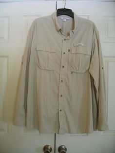 GUIDE SERIES Size 3XL Beige Shirt Fishing Camping Hiking Vented Big Man #GuideSeries #ButtonFront