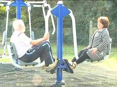 Pensioners' playground. This video shows a playground built/adapted specifically for older adults. There is equipment for the mind and the body.