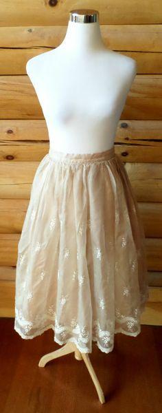 Vintage 1950s Womens Skirt, Patty Woodard California, Blush Color, Lace, Flowers