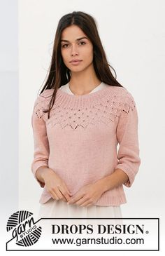 Alberta Rose - Knitted sweater with round yoke in DROPS Safran. The piece is worked top down with lace pattern, leaf pattern and ¾-length sleeves. - Free pattern by DROPS Design Drops Design, Finger Knitting, Free Knitting, Knitting Videos, Knitting Machine, Patagonia Pullover, Mini Vestidos, Crochet Diagram, How To Purl Knit