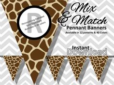 Giraffe Print Bunting Pennant Banner Instant Download - Mix & Match Banners: 12 patterns / 40 colors - DIY Printable Party Decorations on Etsy, $3.34 AUD