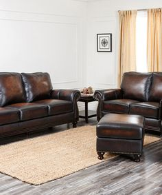 This Burgundy Brown Italia Hand-Rubbed Leather Living Room Set by Abbyson Living is perfect! #zulilyfinds