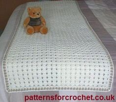 Bed runner free crochet pattern from http://www.patternsforcrochet.co.uk/bed-runner-usa.html #patternsforcrochet