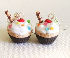 Vanilla Rainbow Cupcake Earrings, Polymer Mini Food Earrings with White Frosting and Rainbow Sprinkles and Cherries, Clay Cakes. $10.00, via Etsy.