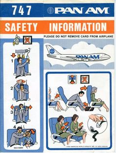 Pan Am Boeing 747 Safety Card (1984)