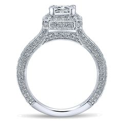 14k White Gold Crown Style  Halo Engagement Ring
