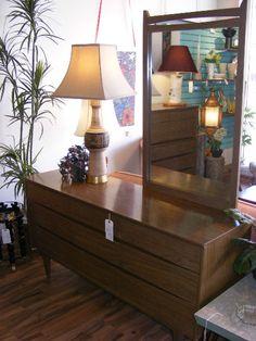 Swanky Sixties Low-Boy Dresser with Off-set Mirror! Now at Retro Kalamazoo