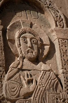 Relief carving of Christ figure on island of Aktamar, Lake Van, Turkey