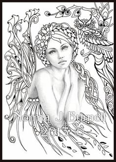 Norma Burnell Blank Coloring Pages | Fairy Tangles