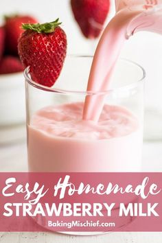 Milk Recipe This Homemade Strawberry Milk is a million times better than the powdered stuff but almost as easy to make. Rich and creamy, with the best sweet and barely tart strawberry flavor, you're going to love it. Strawberry Drinks, Strawberry Milk, Strawberry Recipes, Milk Recipes, Sweet Recipes, Baking Recipes, Dessert Recipes, Easy Desserts, Delicious Desserts