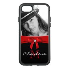 Custom Photo Red Ribbon & Monogram OtterBox Symmetry iPhone 8/7 Case - red gifts color style cyo diy personalize unique