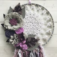 Purple white and grey felt flower by wiltedrosewreaths on Etsy