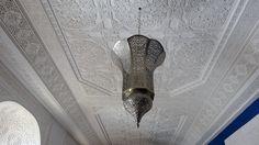Ceiling in our Azrak Suite at Riad Al-Bushra Decor, Lamp, Light Bulb, Ceiling, Suite, Home Decor