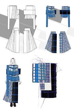 Fashion Sketchbook - fashion illustrations & grid print fabrics; fashion portfolio // Gina Atkinson