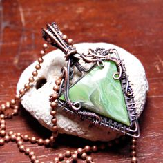 Green Bowlerite Wire Wrapped In Copper Heady Wrapped Triangle Bowling Ball by aGipsyWind on Etsy