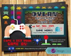 Arcade Party Invitation Digital Printable Invite by thepartystork