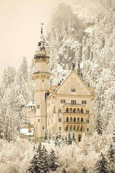 Neushwanstein Castle, Germany draped in snow