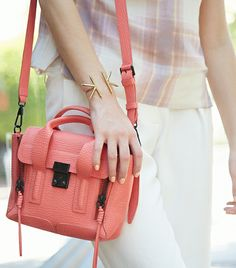 Something about a punchy bright bag feels so right this time of year, and this coral color is surprisingly versatile. Phillip Lim Bag, Diaper Bag Purse, Le Tote, Bcbg, Fab Bag, What's In Your Bag, Little Bag, Womens Purses, Cute Bags