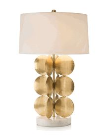 """Limited Production Design & Stock: 35"""" Tall Grand Scale Art Metal Discus Table Lamp * Marble Base, Etched Brass"""