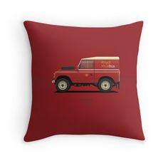 Series 3 Station Wagon 88 Royal Mail Bus  #redbubble #landrover #landroverseries #series3  #ARVwerks #apparel #merchandise #carart #art #automotive #royalmail #postman #post #landy #british #throwpillow