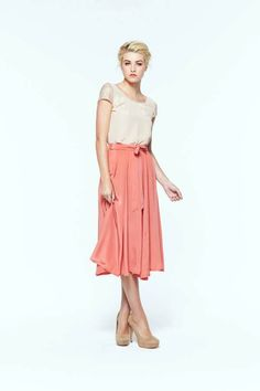 paper crown netting midi skirt #peach