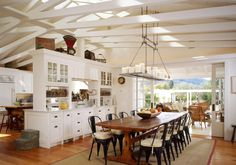 I love the wood beams in this kitchen